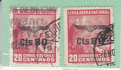 Chile 1940 O.p.t.d. 80 On 2C Red  2 Stamps Used