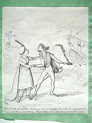 1930s pen & ink cartoon of a theatrical scene by D. A. B.