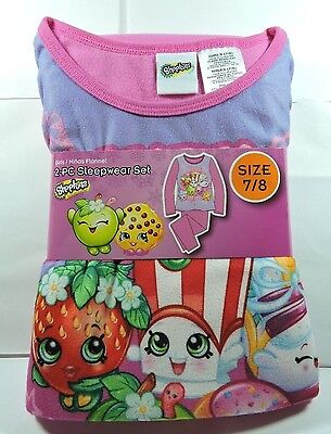 Brand New Girls SHOPKINS Flannel Pajamas 2 piece Sleep wear Set Size 7/8