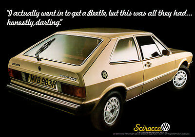 Vw Scirocco Coupe Mk1 Type 53 Retro Poster A3 Print From 70's Advert