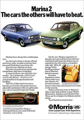 Morris Marina Coupe & Saloon Retro A3 Poster Print From 70's Advert