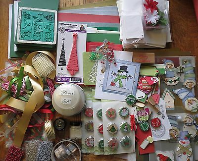 Big Christmas Cardmaking & Craft Kit - Cards, Stamps, Glitter Embellies Clearout