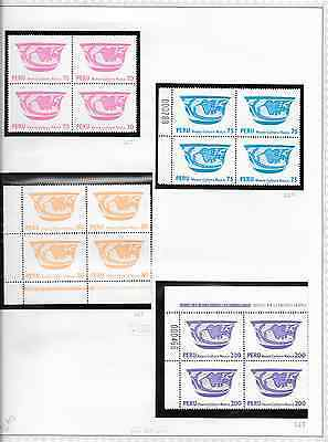 Peru  900+ Mint Blocks of 4, ($3866 cv), 1938/90 ,#375/983, C49/505,on pgs