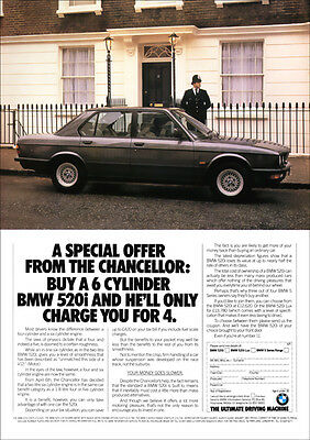 BMW E28 5 SERIES 520i RETRO A3 POSTER PRINT FROM CLASSIC ADVERT