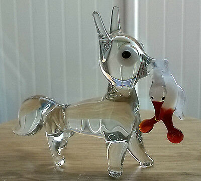 Vintage glass fox with duck in its mouth Ornament