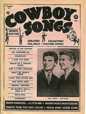 Cowboy Songs vintage magazine No 57 August 1958 Everly Brothers cover