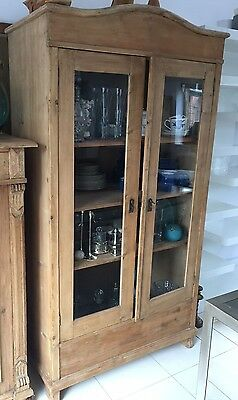 Victorian antique pine glass fronted cabinet