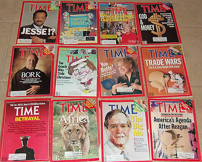 Lot of 17 Time Magazines from the 1980's