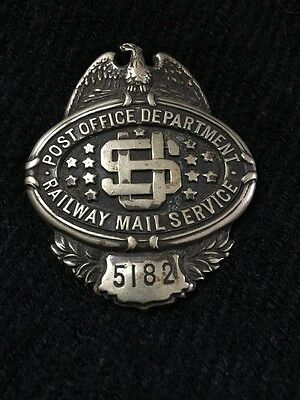 US Railway Mail Service EARLY 1900's Badge