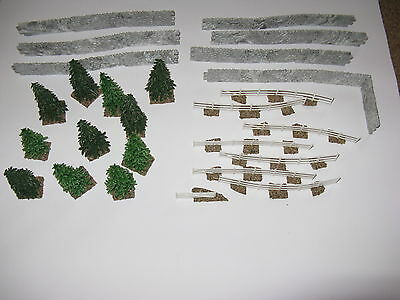 Selection Of 11 x Trees 22 x Walls 7 x Fences Wargaming Railway Models Scenery