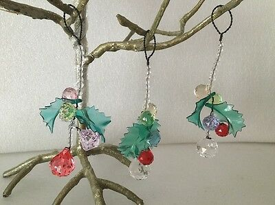 3 Vintage Bead Beaded Christmas Holly Leaves and Berries Glass Crystal Plastic