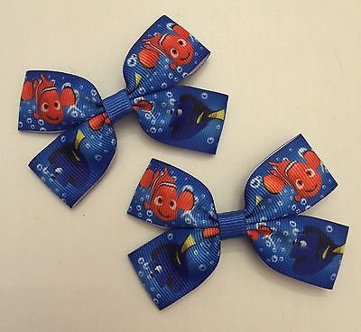 Pair Of Blue Finding Nemo Design Hair Bows/accessories On Alligator Clips