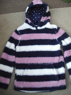 Fat Face Girls Pink White & Navy Hooded Fleece Top In Great Condition - 10/11 Yr
