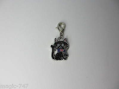 NEW Clip on Cat Collar Enamel Charm - Black Sparkly Kitty Pink Crystal Bow Tie