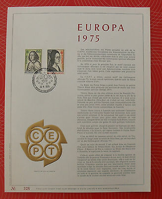 Feuillet luxe 328 - 2 Timbres belges 6,50 & 10 F EUROPA 1975