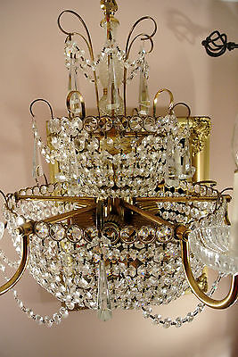 1950s Vintage Beaded French Italian Crystal Chandelier Birdcage Huge Size