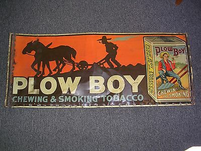 Antique Plow Boy Chewing And Smoking Tobacco Tin Sign Circa 1900, Very Rare ! !