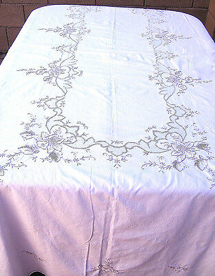 "Handmade Embroidered Roses Tablecloth Beige Cotton 66x100"" Oblong"
