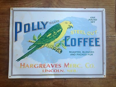Original Vintage Coffee Advertising Sign Polly Brand Coffee