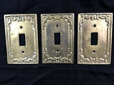 VTG Solid Heavy Brass Switch Plates Set of 3 Ornate Victorian plate covers art d