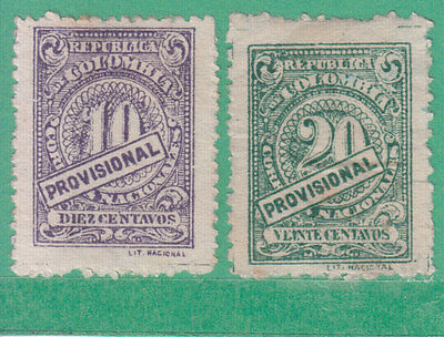 Colombia 1920 2 Stamps Mint Hinged No Gum