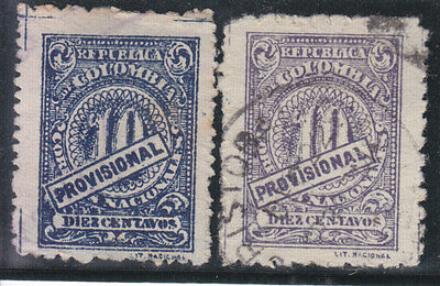 Colombia 1920 2 Stamps 1 Violet  1 Blue Used
