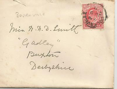 KING EDWARD VII 1d RED WITH BOURNVILLE CANCEL 1911   REF 1212