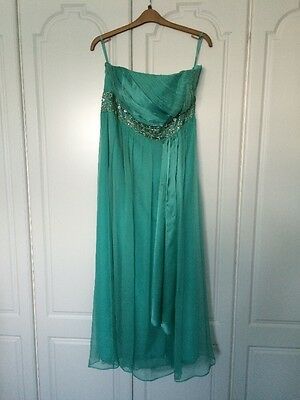 Monsoon Green Strapless Full Length Prom/Evening dress Size 20 - was £160 new