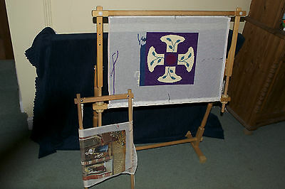 Large Tapestry Frame Wooden With Extra Frame Wool & 2 Tapestries Embroidery