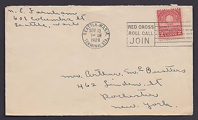 1929 Cover pmkd with Red Cross Logo seattle washington  ( 347 )