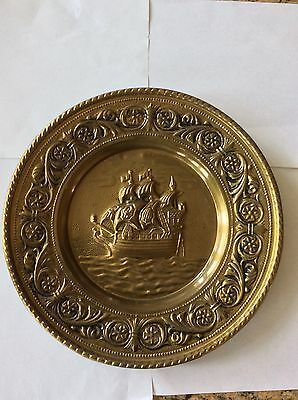 Vintage Brass Plate Plaque Wall Hanging Ship Galleon Nautical