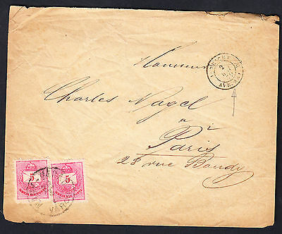 Hungary 1879 5Ft Pair Cover To France