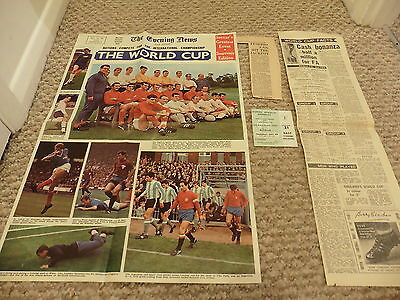 1966 World Cup Ticket +Cuttings 3rd Place play off Portugal v Russia -28/07/66
