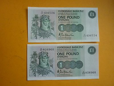 SCOTLAND -2 x CLYDESDALE BANK £1 NOTES - 8.4.1985 & 25.11.1985 - P211c - XF+/UNC