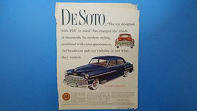 Vintage 1949 Desoto*THE CAR DESIGNED WITH YOU IN MIND* Print Ad
