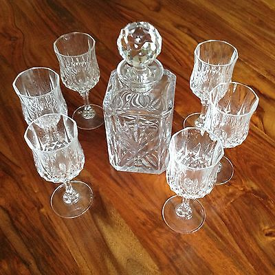 Lead Crystal Cut Glass Decanter with 6 Glasses