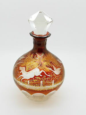 Collectable Ruby Overlay Etched Glass Small Decanter Forest Animals & Trees