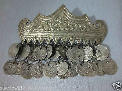 ANTIQUE OTTOMAN MACEDONIAN SILVER ALLOY CROWN HEAD ORNAMENT + 23pcs SILVER COINS