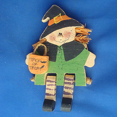 """6"""" rope hinge wood cute Halloween Witch shelf sitter trick or treater"""