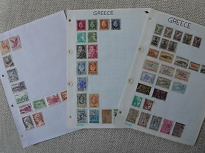 Greece collection of 59 stamps on 3 pages