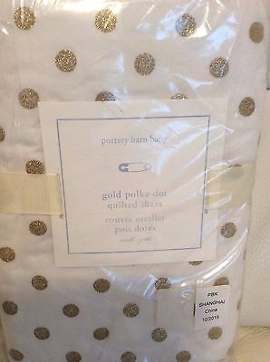 Pottery Barn Kids Gold Polka Dot Small Nursery Crib Quilted Sham