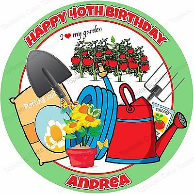 Personalised Allotment Love Growing Edible Icing Birthday Party Cake Topper