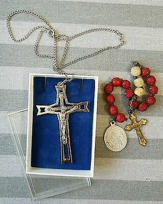 Italian Steel Crucifix And Small Crucifix And Vintage Medallion Rosary