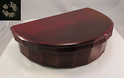 Vintage Japanese Wood & Lacquer Half-Circle Lunch Box Japan