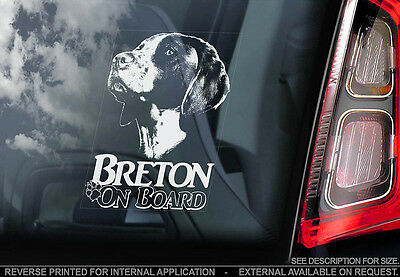 Breton - Car Window Sticker - Dog Sign -V01