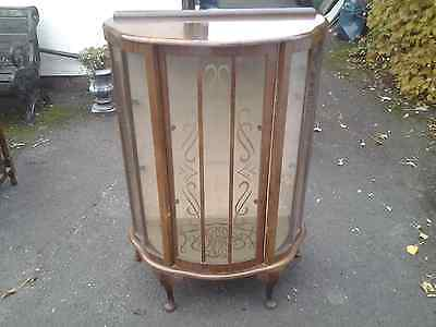 Vintage Walnut Bow Fronted Display Cabinet