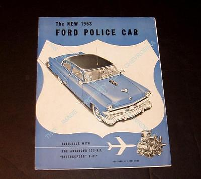 1953 Ford POLICE CAR Brochure Catalog in EXCELLENT Condition COP CAR Mainline 53