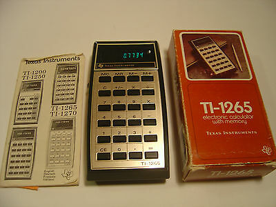Texas Instruments TI- 1265 calculator. Boxed, Complete & Working. RARE 1970's