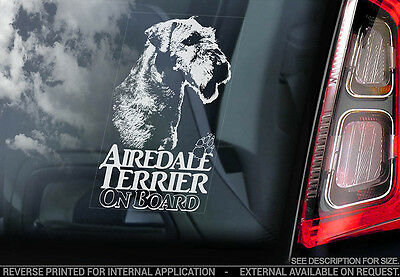 Airedale Terrier - Car Window Sticker - Dog Sign -V02