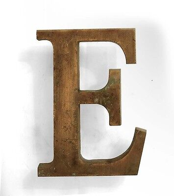 Vintage solid brass letter - E, industrial, architectural element 5.25""